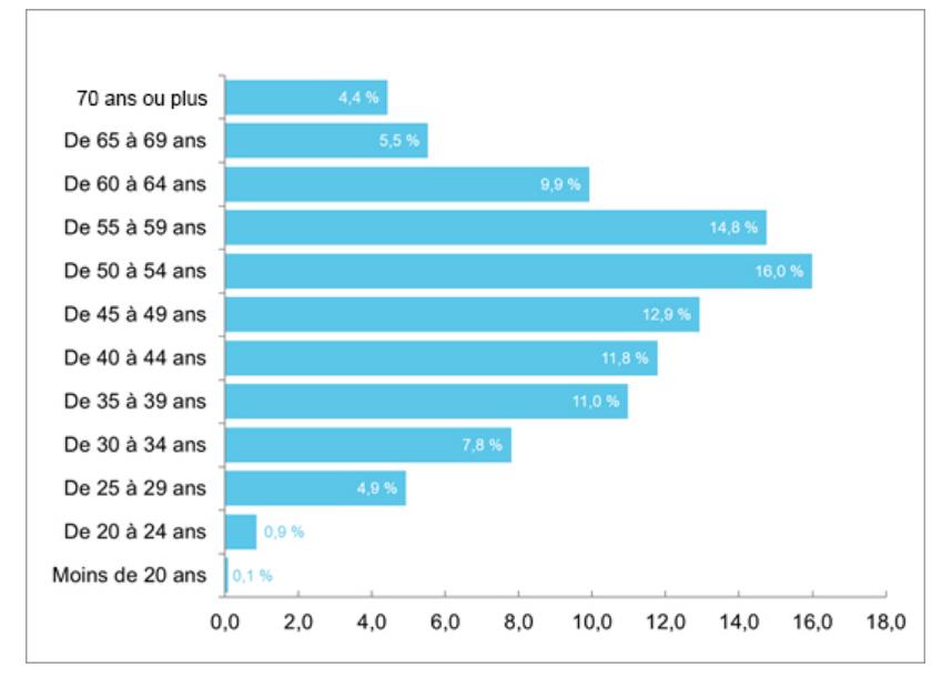Répartition des entrepreneurs par groupe d'âge au Québec (moyenne annuelle de 2015 à 2019) - Distribution of entrepreneurs by age group in Quebec (annual average from 2015 to 2019)